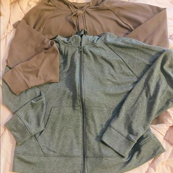 2 crop zip up hoodies